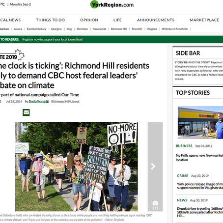 'The clock is ticking': Richmond Hill residents rally to demand CBC host federal leaders' debate on