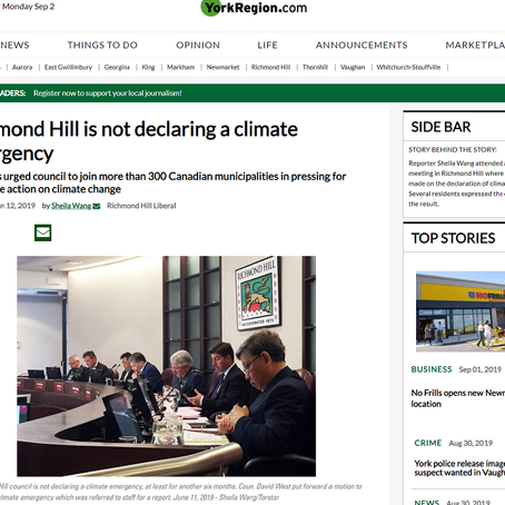 Richmond Hill is not declaring a climate emergency