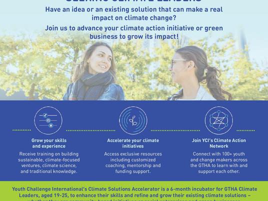 Youth Challenge International Seeking Climate Leaders - begins Jan 11, 2021