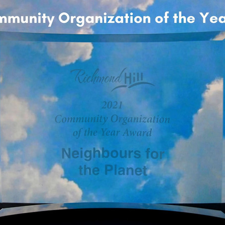 Press Release: Richmond Hill environmental group wins prestigious award
