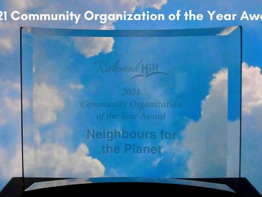 Press Release: Richmond Hill environmental group wins prestigious award