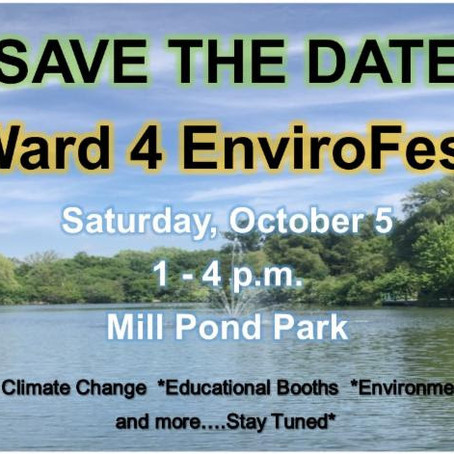Oct 5, 1-4pm: Ward 4 Envirofest at Mill Pond
