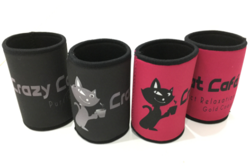 Crazy Cat Café branded Stubby Holders