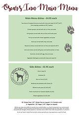 Oscar's Inn main menu inc. sides Nov 202