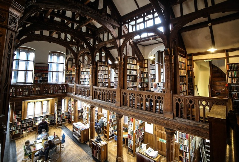 The carved wood interior of the libary at Harwarden.