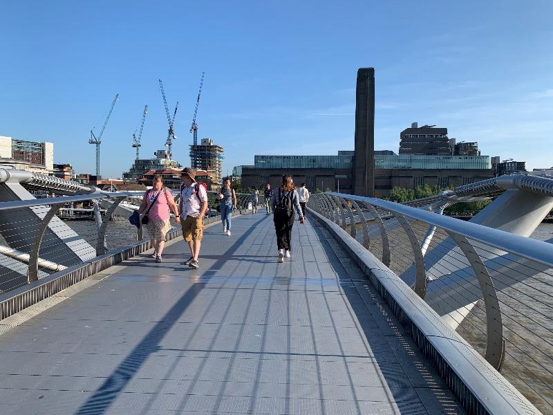 People walking on the Millennium Bridge