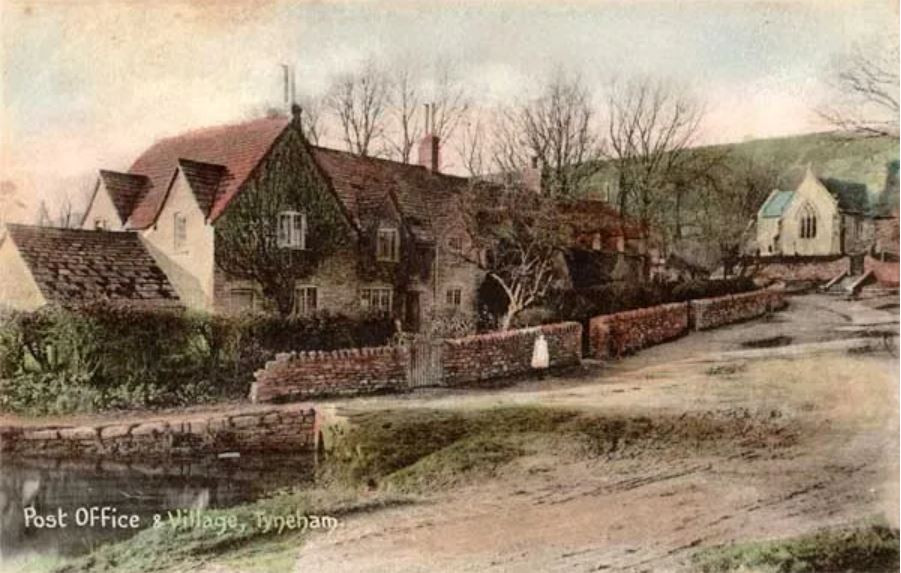 An old postcard of the post office at Tyneham
