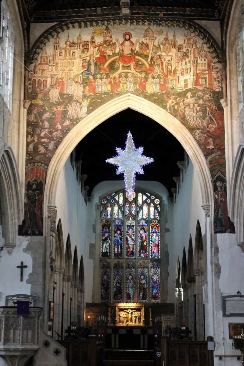 The central nave of St Thomas' church showing the Doom painting.