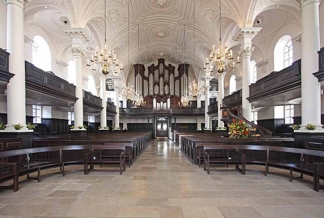 The interior of the church of St Martin in the Fields.