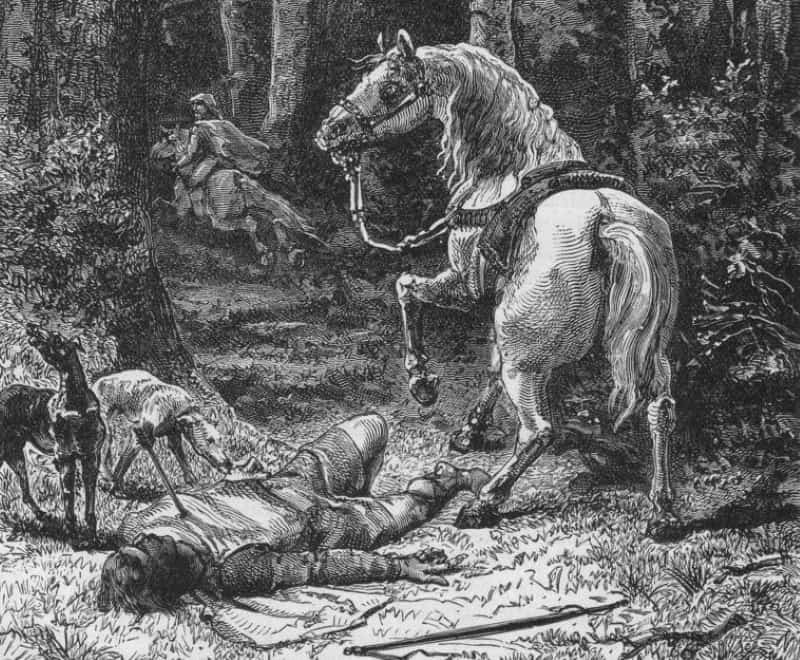 A drawing of the imagined death of William Rufus in the New Forest