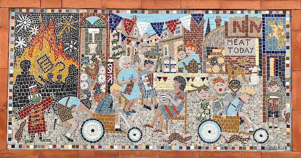 A close up of the Greencroft Street Mosaic