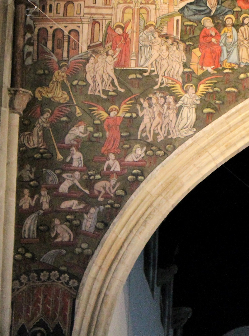 A close up of the left spandrel of the painting in St Thomas' church