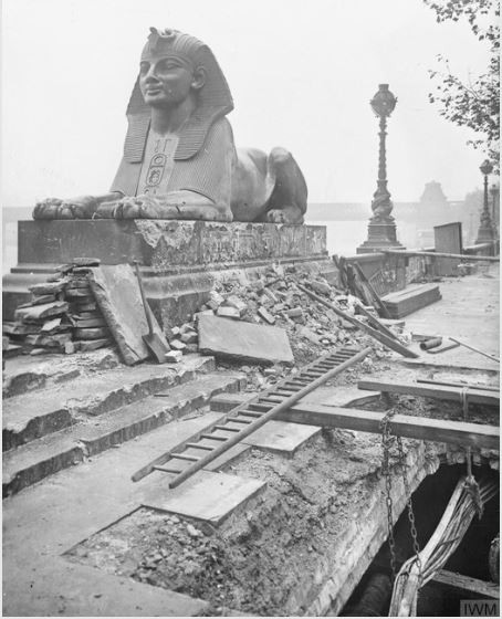 A black and white photo of the bomb damage on the sphinx