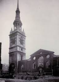 Ablack and white photo showing the bomb damage to St Mary le Bow in London.