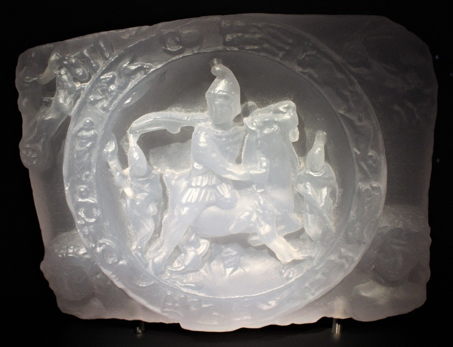 A white model of the slaying of the bull by Mithras