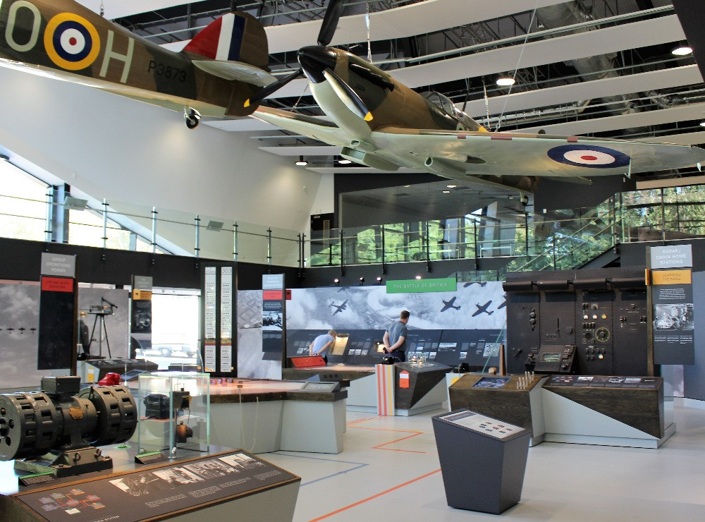 An aircraft hanging from the ceiling of the visitors centre