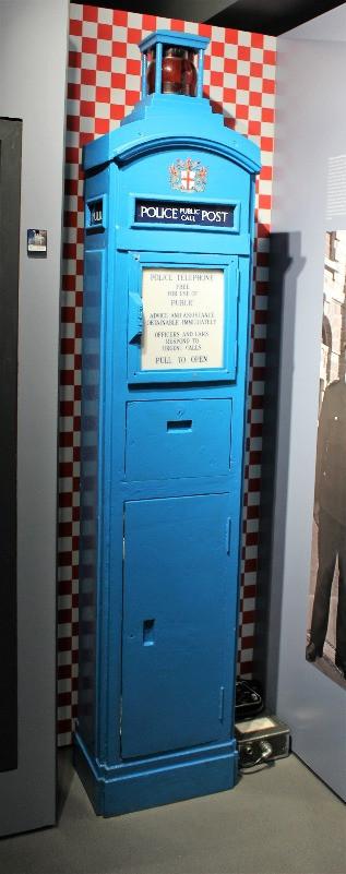 A blue police post box