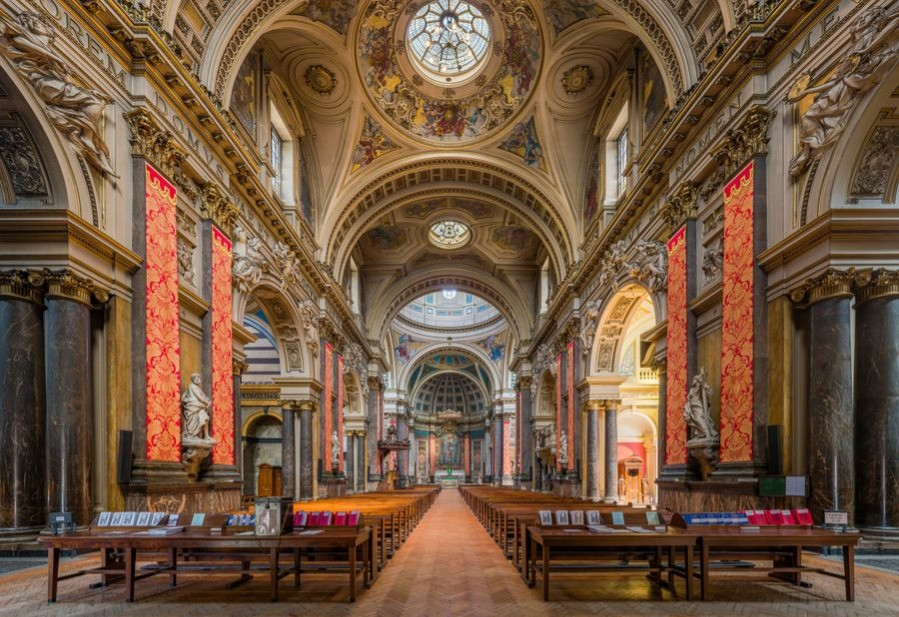 The interior of the Brompton Oratory in London.
