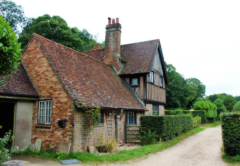 A tudor beamed house on a country lane