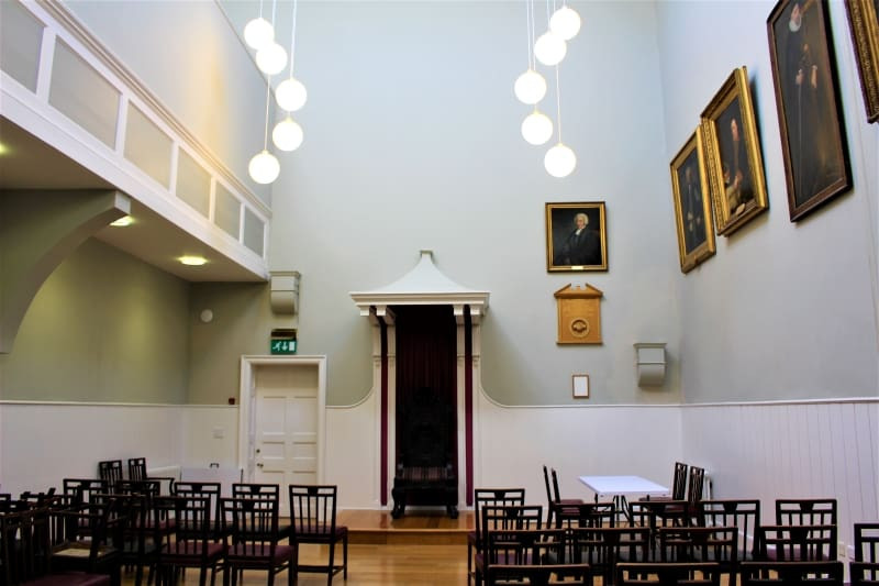 A wide angle shot of the interior of the crown court