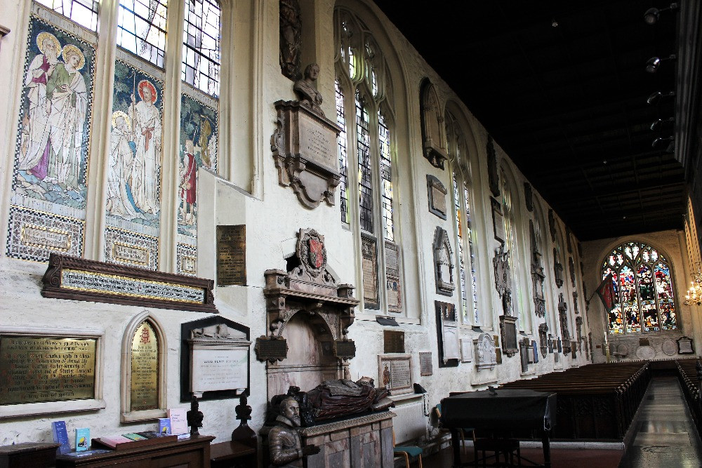 The plaques on the walls inside St Margarets Church