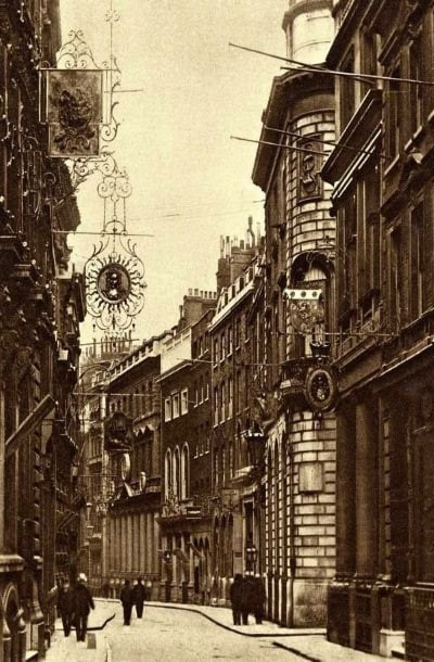 An old sepia photo of the signs in Lombard Street.