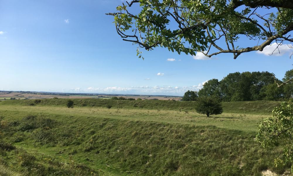 A view over Figsbury Ring against a blue sky.