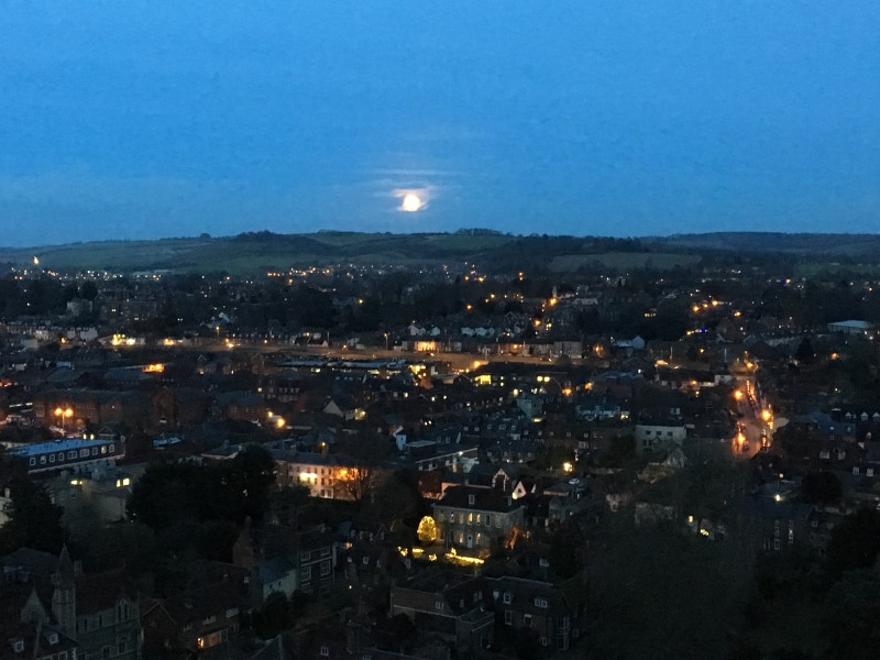 Moonlight over Salisbury showing all of the lights.