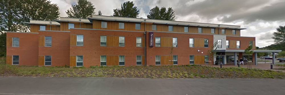 The Premier Inn in Salisbury set back from the road.
