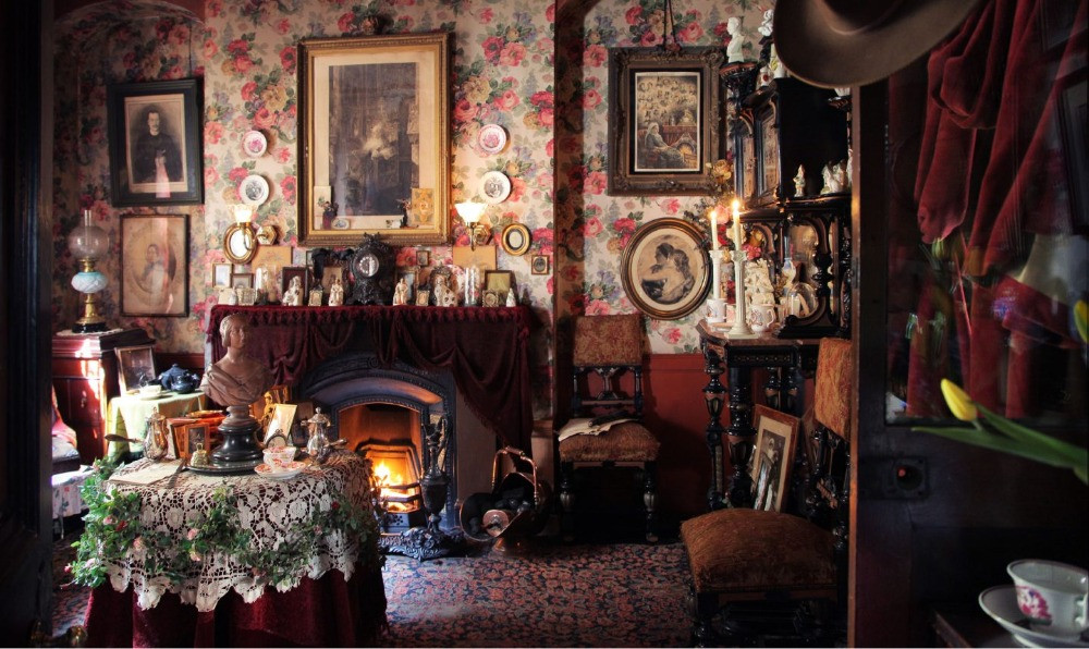 The cluttered Victorian room in Denis Severs House