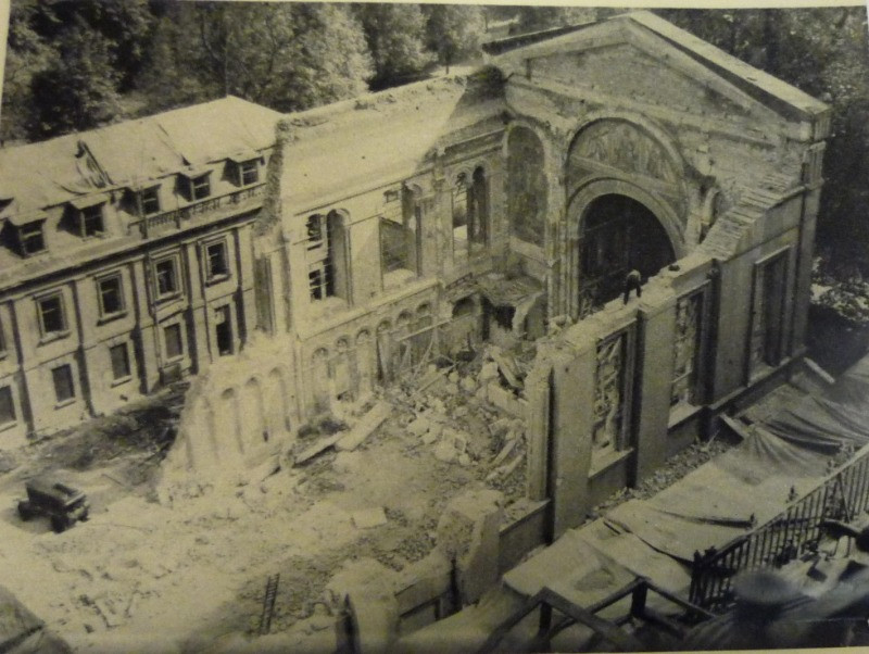 A black ad white photo of the bombed out church.