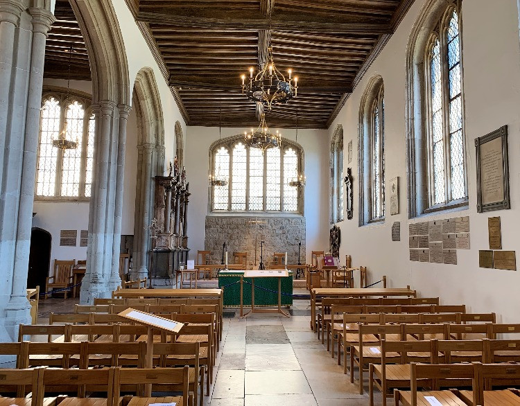 The nave and altar of the chapel
