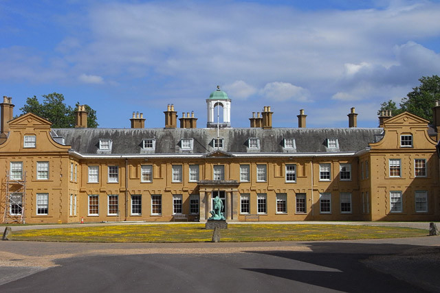 The exterior of Stratfield Saye, a large manor house.
