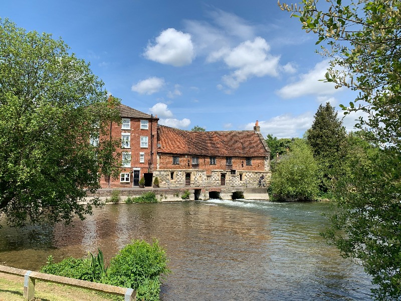 A view over the River Avon of The Old Mill in Harnham, Salisbury.