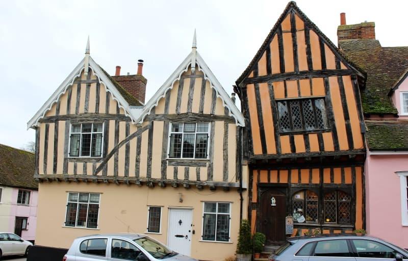 Haphazard medieval houses in the street of Lavenham.