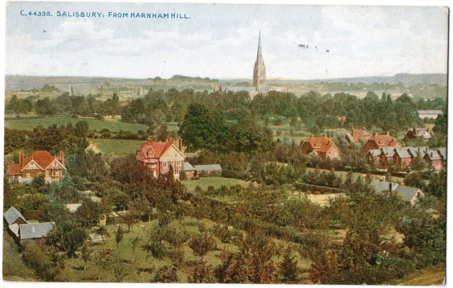 A postcard painting of Harnham