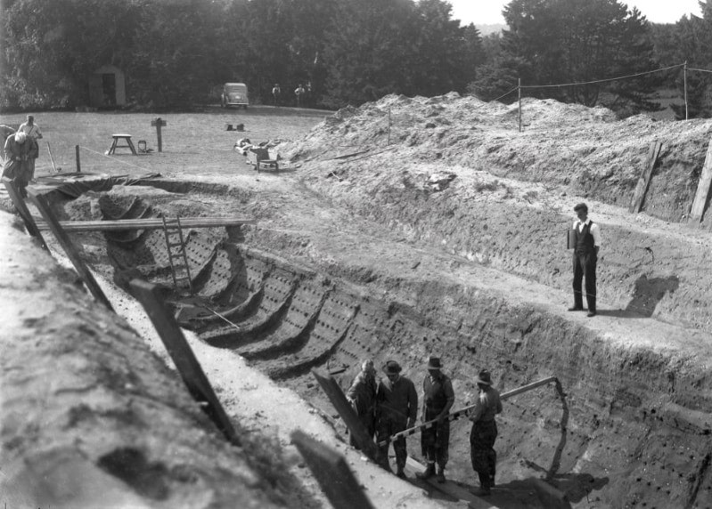 Old photo of the original dig at Sutton Hoo