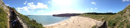 A panoramic view of the Stackpole Estate in Wales