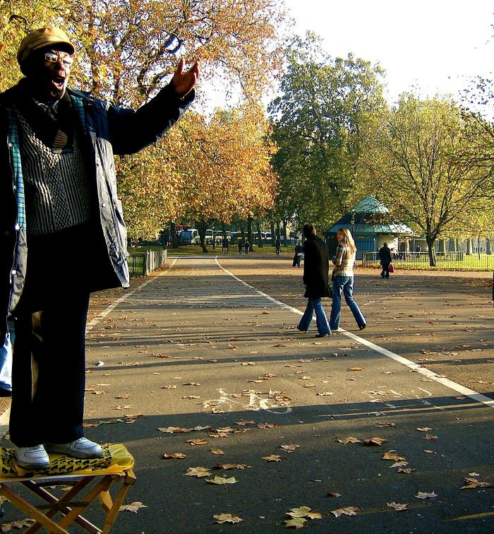 A man standing on a crate talking in Hyde Park