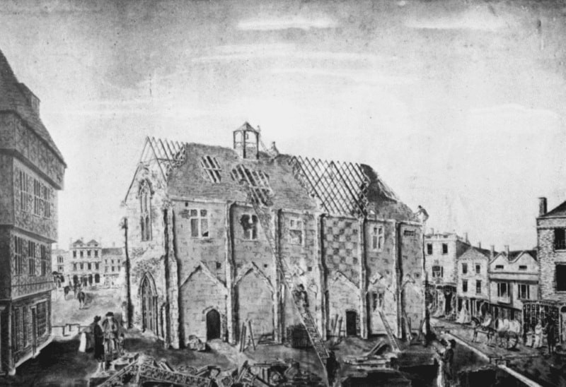 A black and white sketch of the destruction of the guildhall