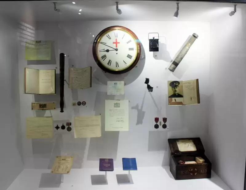 A display case in the Police Museum containing a clock