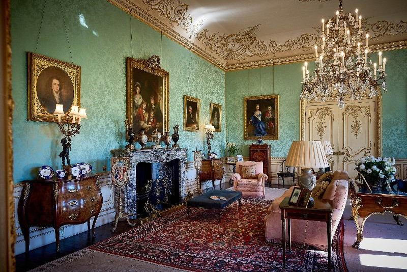 The green Drawing Room in Highclere Castle