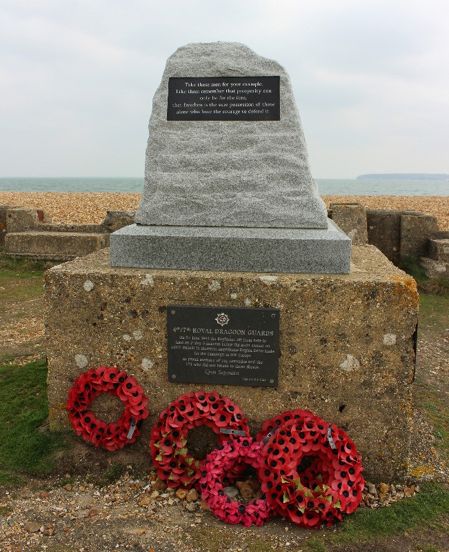 The Memorial to 4th/7th Royal Dragoon Guards at Lepe Beach