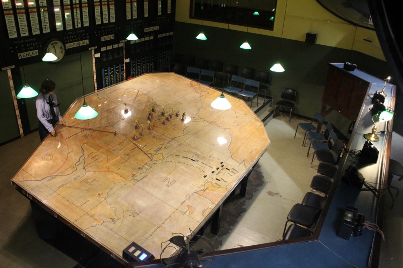 The plotting table in the Battle of Britain Bunker.
