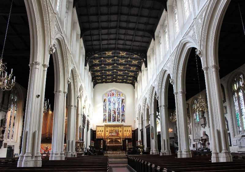 The nave and wooden ceiling inside St. Margarets Church