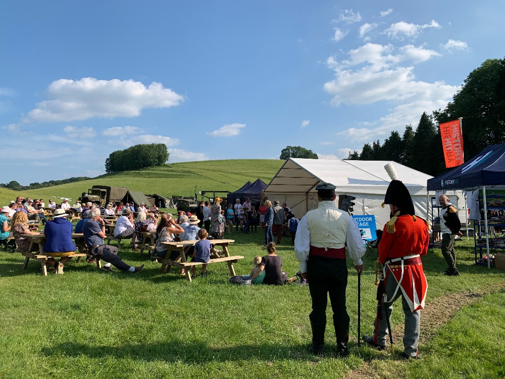 People watching a talk at the Chalke Valley History Festival