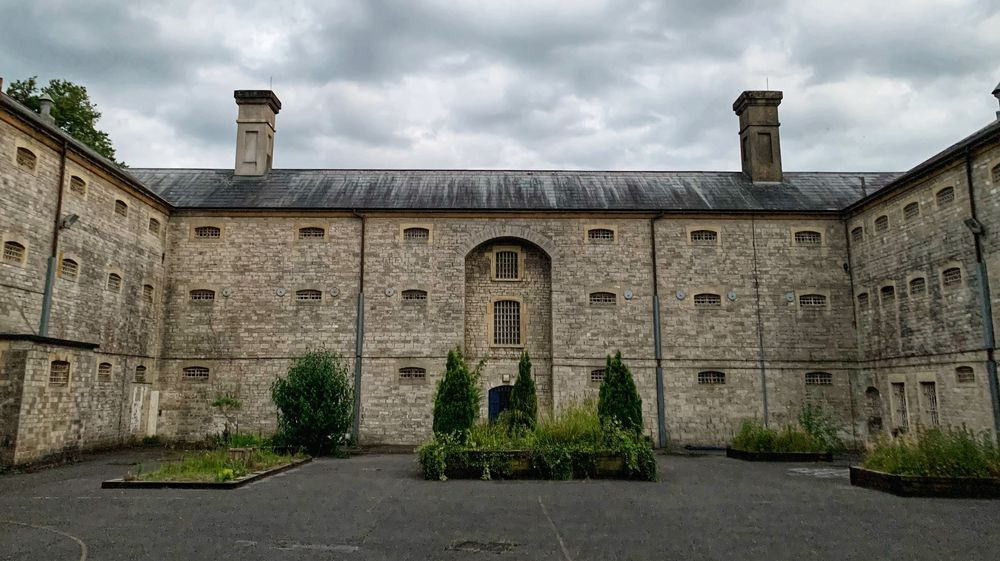 The exercise yard at Shepton Mallet prison