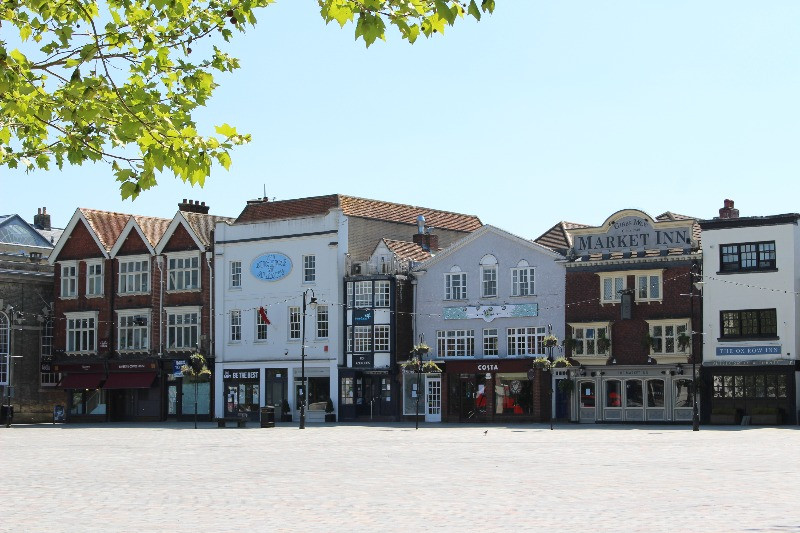One side of Salisbury's Market Square showing several of the buildings