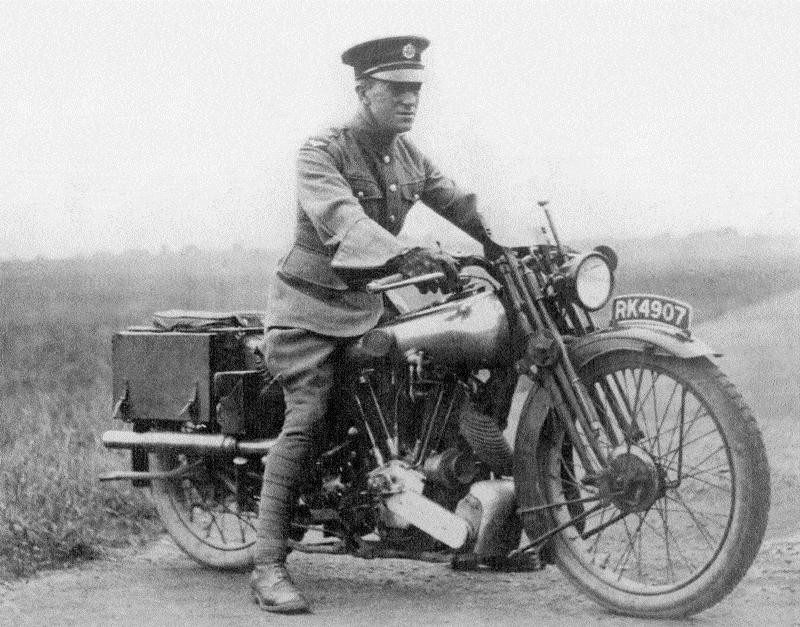 A black and white photo of Lawrence on his motorbike.