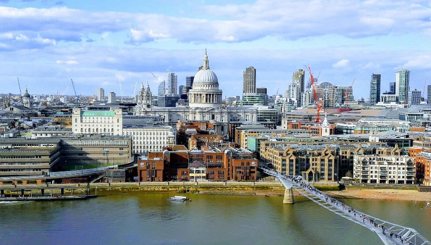 The Millennium Bridge with St Pauls in the background